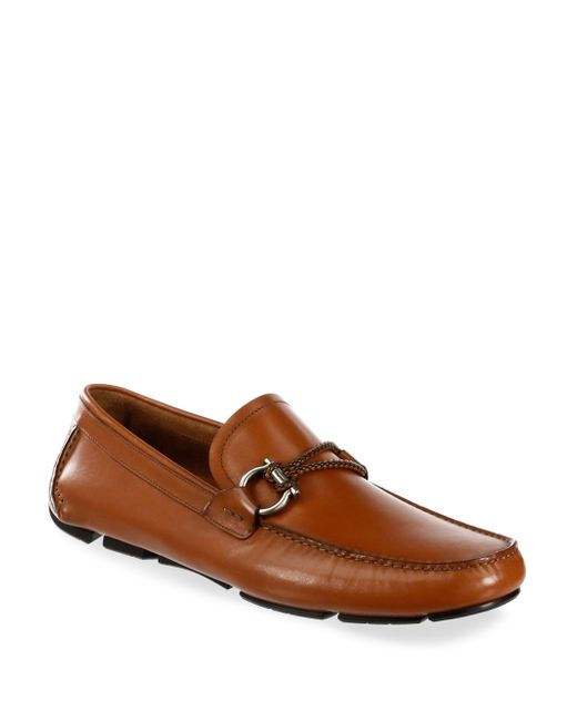 Ferragamo - Brown Leather Drivers for Men - Lyst