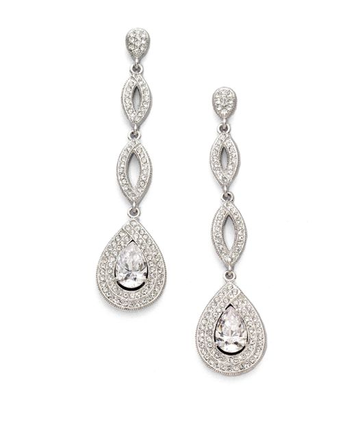 Adriana Orsini - Metallic Crystal Drop Earrings - Lyst