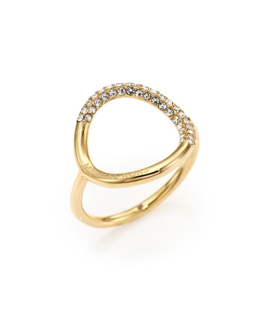 Michael Kors | Metallic Pavé Circle Ring/goldtone | Lyst