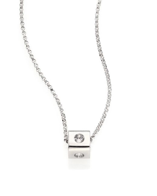 Roberto Coin - Metallic Pois Moi 18k White Gold Mini Cube Pendant Necklace - Lyst
