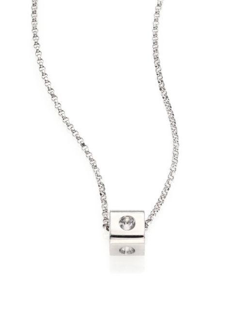 Roberto Coin   Metallic Pois Moi 18k White Gold Mini Cube Pendant Necklace   Lyst