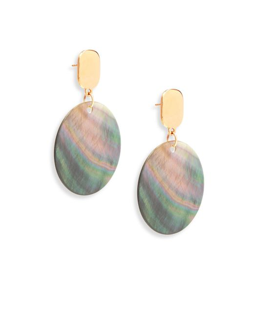 Nest - Gray Statement Grey Mother-of-pearl Drop Earrings - Lyst