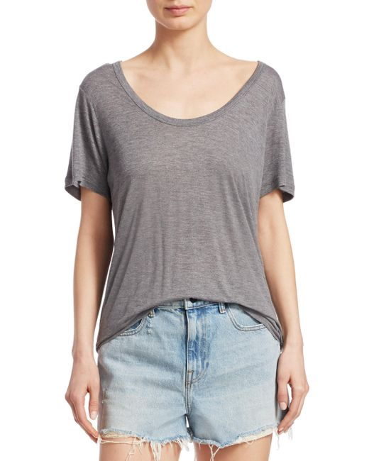 T By Alexander Wang - Gray Draped Jersey Tee - Lyst