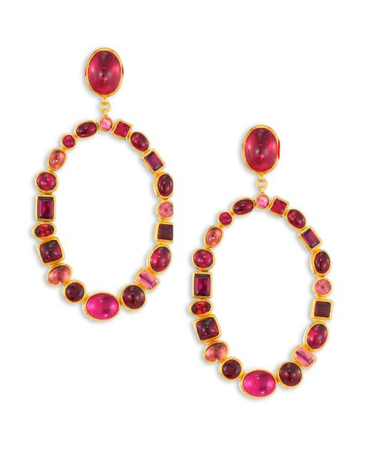 Gurhan - Red Amulet Hue Large Multi-stone & 24k Yellow Gold Drop Earrings - Lyst
