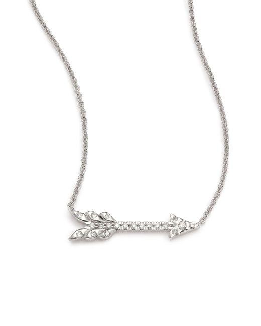 Roberto Coin - Metallic Tiny Treasures Diamond & 18k White Gold Arrow Necklace - Lyst