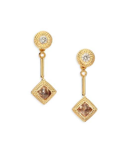 De Beers - Metallic Talisman Essence Diamond & 18k Yellow Gold Drop Earrings - Lyst