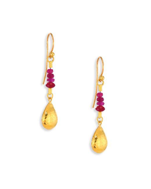 Gurhan | Metallic Delicate Rain Ruby & 24k Yellow Gold Drop Earrings | Lyst