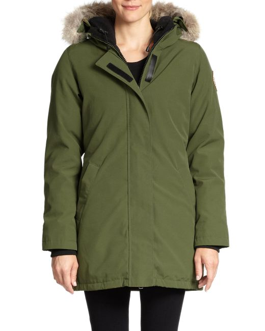 Canada Goose - Green Victoria Fur-Trrimmed Down-Padded Parka Jacket  - Lyst