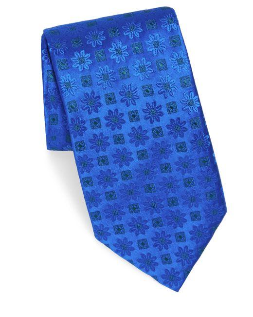 Charvet - Blue Edelweiss Pattern Silk Tie for Men - Lyst