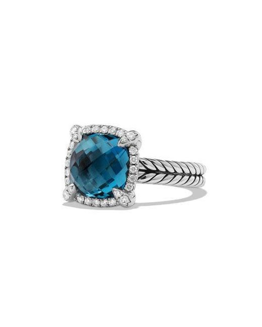 David Yurman | Châtelaine Pave Bezel Ring With Hampton Blue Topaz And Diamonds | Lyst