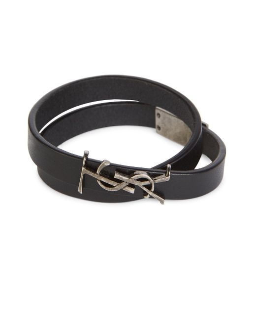 Saint Laurent | Black Ysl Wrap Leather Bracelet | Lyst
