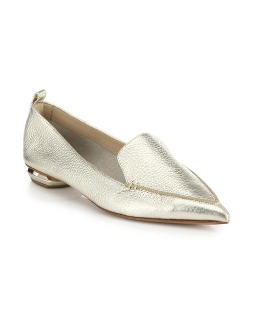 Nicholas Kirkwood - Women's Bottal Metallic Leather Point Toe Loafers - Pewter - Lyst