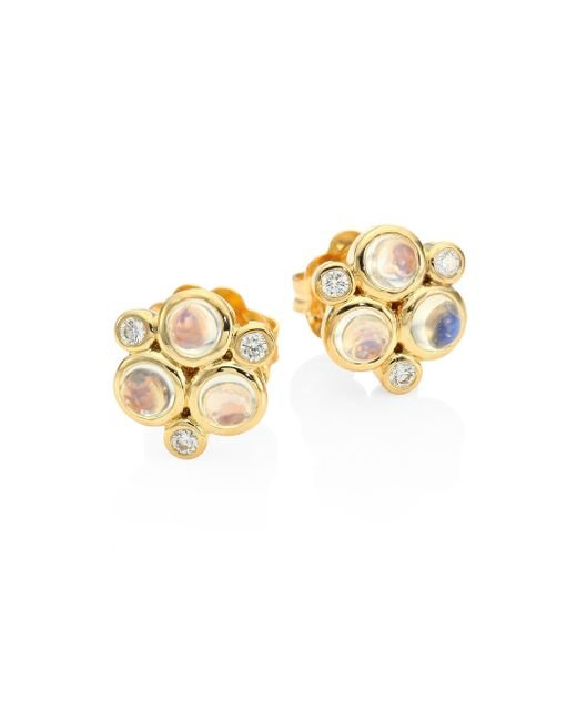 Temple St. Clair - Metallic Classic Color Diamond, Blue Moonstoon & 18k Yellow Gold Trio Earrings - Lyst