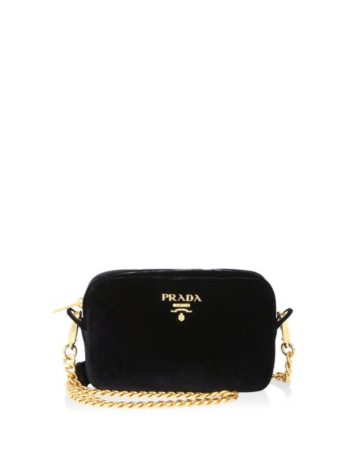 Prada - Black Bandoliera Velvet Chain Camera Bag - Lyst