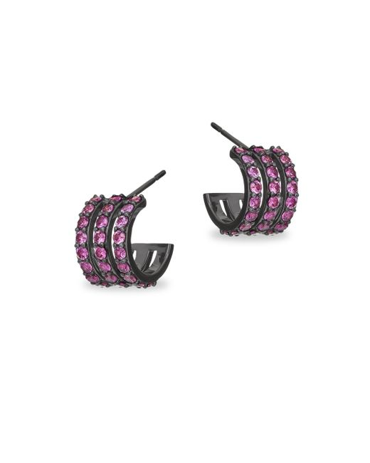 Lana Jewelry - Multicolor 15-year Anniversary Electric Pink Sapphire Triple Huggie Hoop Earrings - Lyst