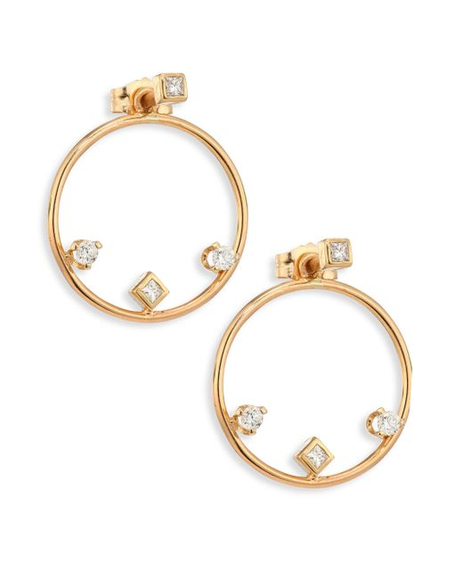 Zoe Chicco - Metallic Diamond & 14k Yellow Gold Hoop Earrings/1.25 - Lyst