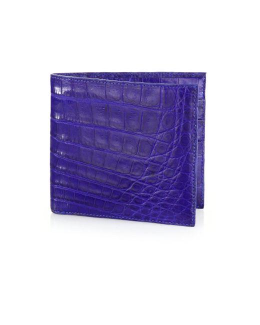 Santiago Gonzalez - Blue Crocodile Billfold Wallet for Men - Lyst