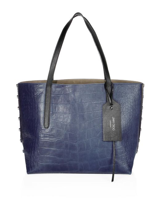 Jimmy Choo - Blue Twist East West Croc-embossed Leather Tote - Lyst