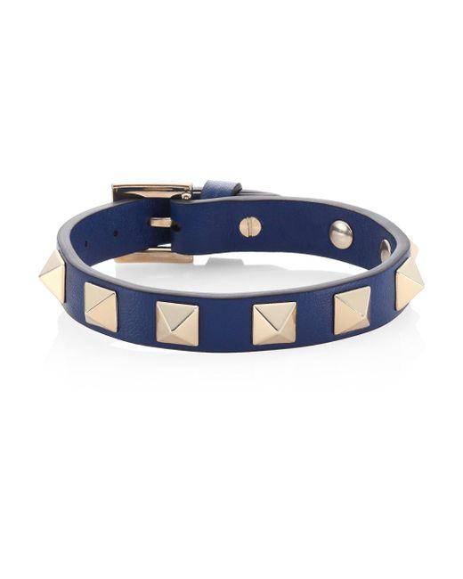 Valentino | Blue Rockstud Leather Bracelet | Lyst