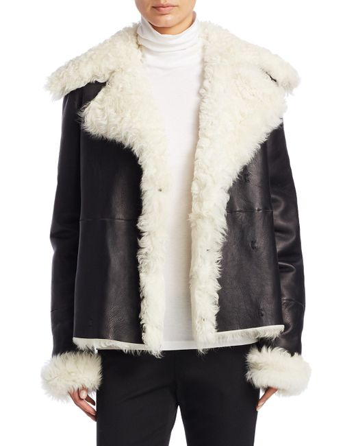 Theory | Black Curly Toscana Shearling Fur Leather Pea Coat | Lyst