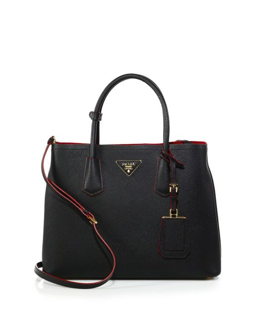 Prada | Black Saffiano Cuir Medium Double Bag | Lyst
