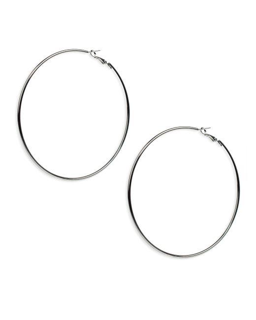 Kenneth Jay Lane - Metallic Large Silver Hoop Earrings - Lyst