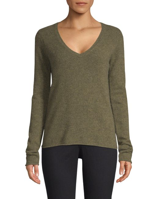 ATM - Green Cashmere V-neck Sweater - Lyst