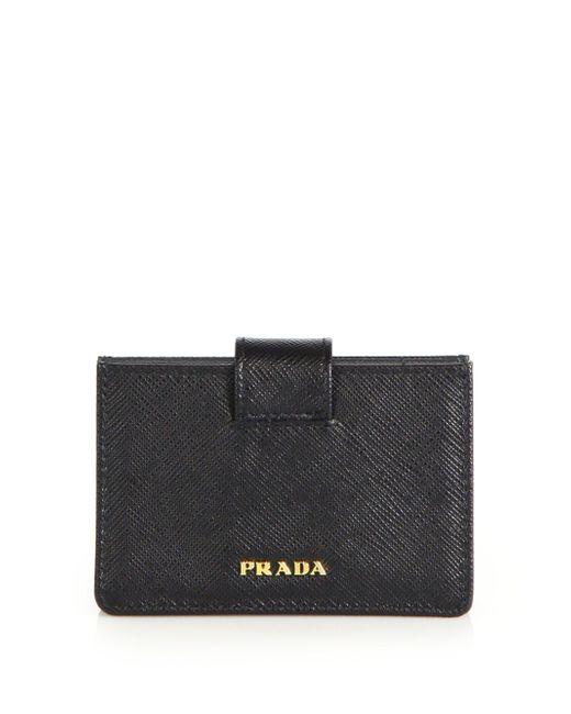 Prada - Black Saffiano Leather Accordion Card Case - Lyst