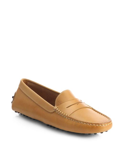 Tod's - Brown Gommini Leather Drivers - Lyst