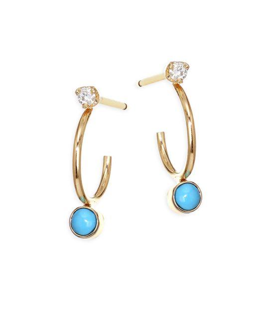 Zoe Chicco - Metallic Turquoise Diamond, Turquoise & 14k Yellow Gold Huggie Hoop Earrings - Lyst