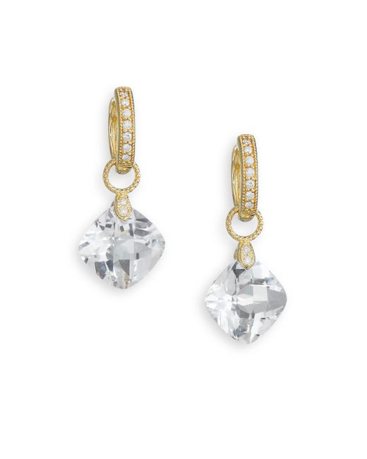 Jude Frances | Metallic Classic White Topaz, Diamond & 18k Yellow Gold Cushion Earring Charms | Lyst