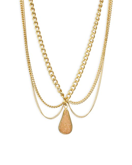 Chan Luu - Metallic Scalloped Agate Pendent Necklace - Lyst