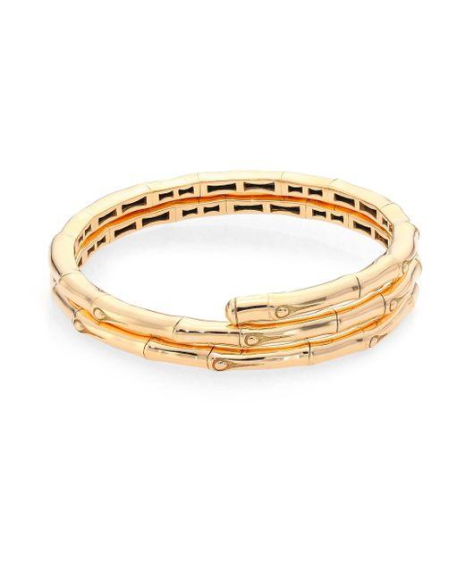 John Hardy   Metallic Bamboo 18k Yellow Gold Double Coil Bracelet   Lyst