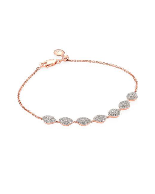 Monica Vinader | Pink Nura Diamond Teardrop Link Bracelet | Lyst