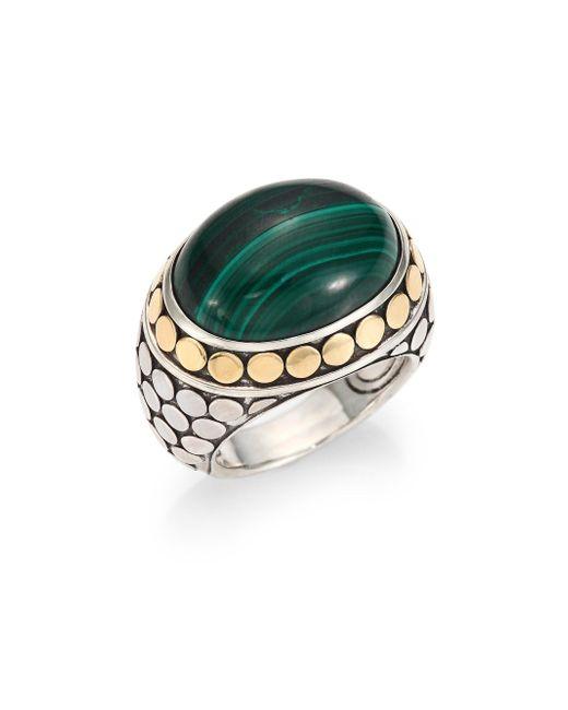 John Hardy | Green Batu Dot Malachite, 18k Yellow Gold & Sterling Silver Dome Ring | Lyst