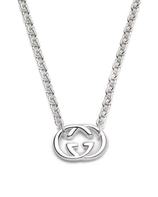 Gucci - Metallic Double G Sterling Silver Necklace - Lyst