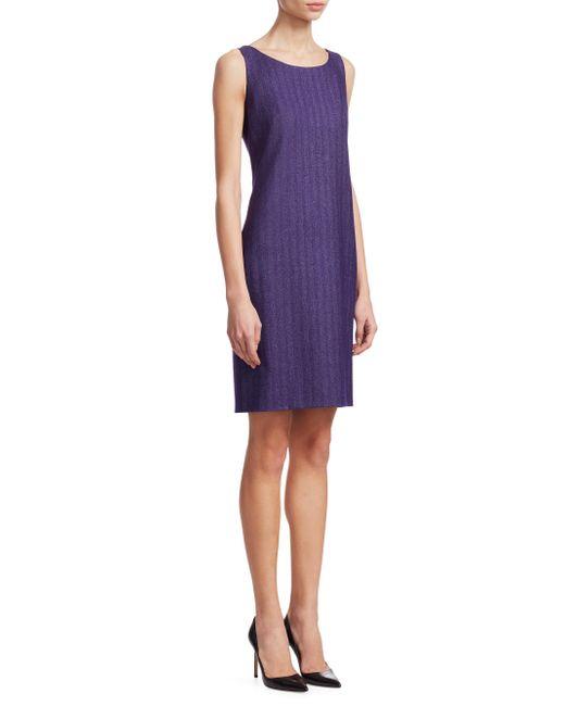 Akris - Purple Herringbone Sheath Dress - Lyst