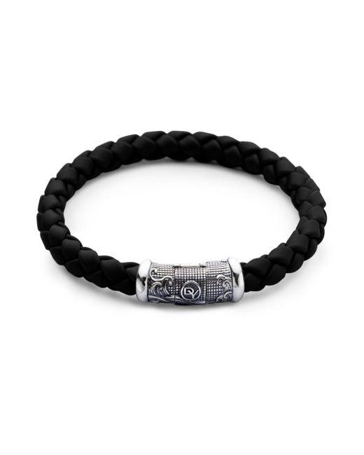 David Yurman - Black Braided Rubber & Sterling Silver Bracelet - Lyst