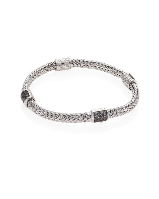 John Hardy - Metallic Classic Chain Extra Small Grey Sapphire & Sterling Silver Four-station Bracelet - Lyst