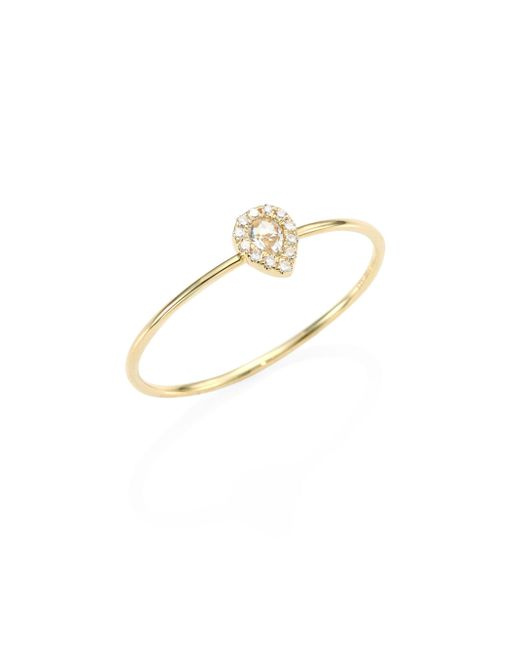 EF Collection - Metallic Mini Teardrop Diamond, White Topaz & 14k Yellow Gold Ring - Lyst