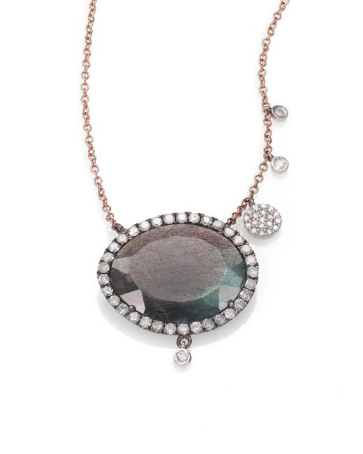 Meira T | Pink Labradorite, Diamond & 14k Rose Gold Pendant Necklace | Lyst