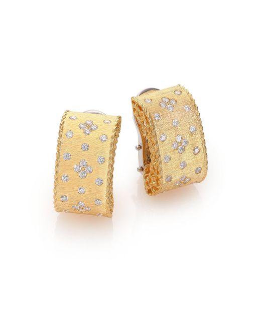 Roberto Coin - Metallic Princess Diamond & 18k Yellow Gold Drop Earrings - Lyst