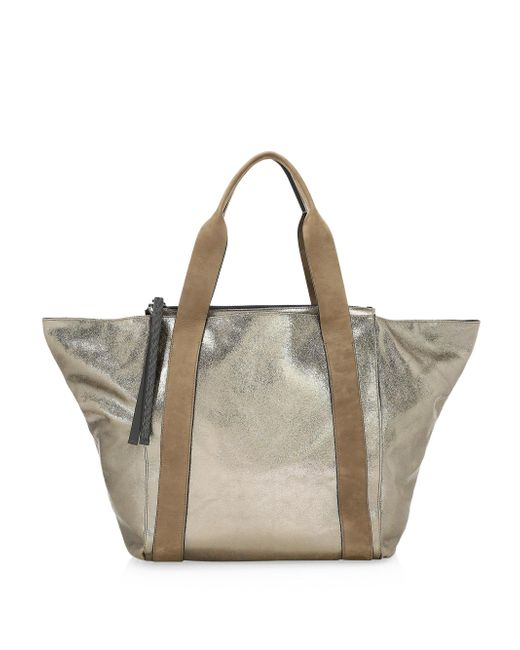 Brunello Cucinelli - Natural Metallic Leather Zip Tote - Lyst