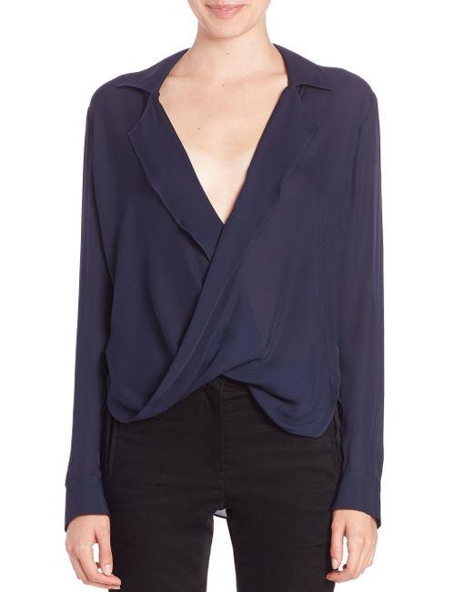 L'Agence - Blue Rita Drape-front Silk Blouse - Lyst