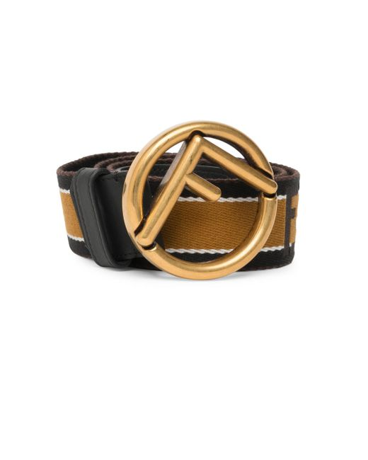 Fendi - Metallic Vitello Century Nastro Righe Leather Belt for Men - Lyst