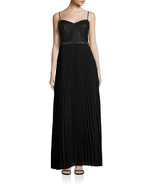 Laundry by Shelli Segal | Black Mixed Media Pleated Gown | Lyst