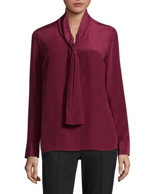 ESCADA | Red Tie-neck Silk Blouse | Lyst