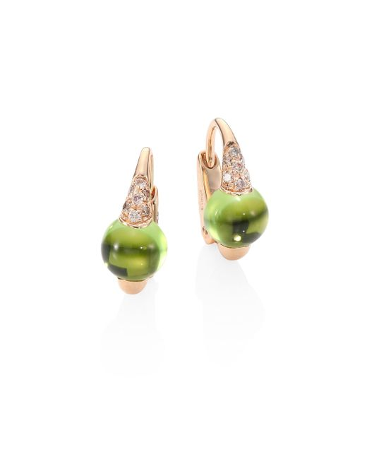 Pomellato | Multicolor M'ama Non M'ama Brown Diamond, Peridot & 18k Rose Gold Leverback Earrings | Lyst