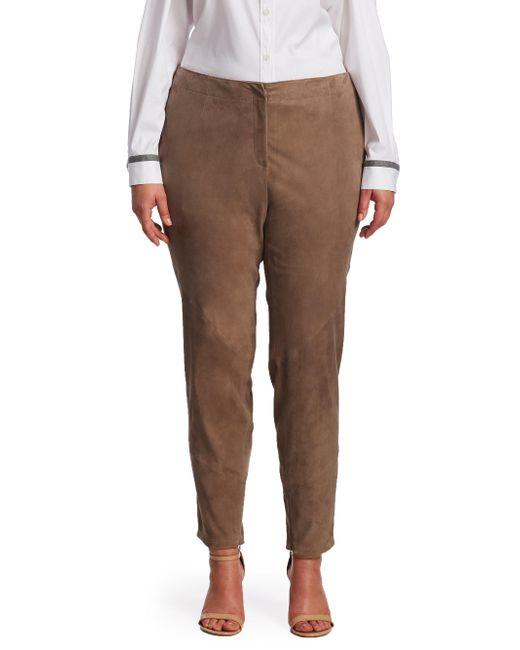 Lafayette 148 New York   Brown Portobello Suede Slim Pants   Lyst