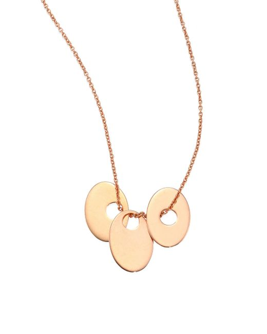 Ginette NY | Metallic Sequins & Ellipses 18k Rose Gold Pendant Necklace | Lyst